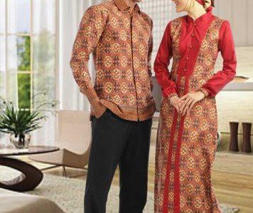 Baju batik muslim sarimbit pria dan wanita dengan tampilan modern dan trendy