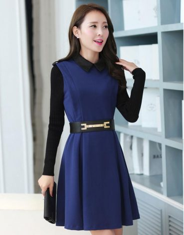 Model Dress Selutut Cantik Lengan Panjang